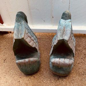 Vintage Accents - Set of 2 Vintage Handmade Solid Wood Swans